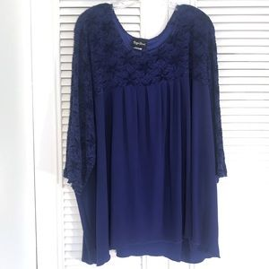 Maggie Barnes - Royal Blue Blouse w/ Lace Sleeves!